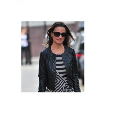 Ladies Collar Less Black Leather Jacket